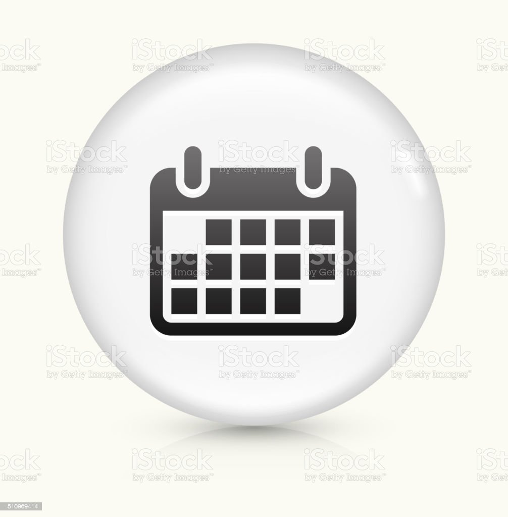 Calendar icon on white round vector button vector art illustration