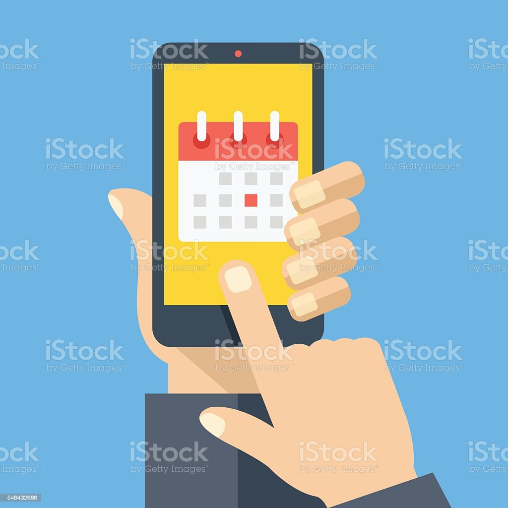 Calendar icon, schedule, planning app in smartphone. Flat vector illustration vector art illustration