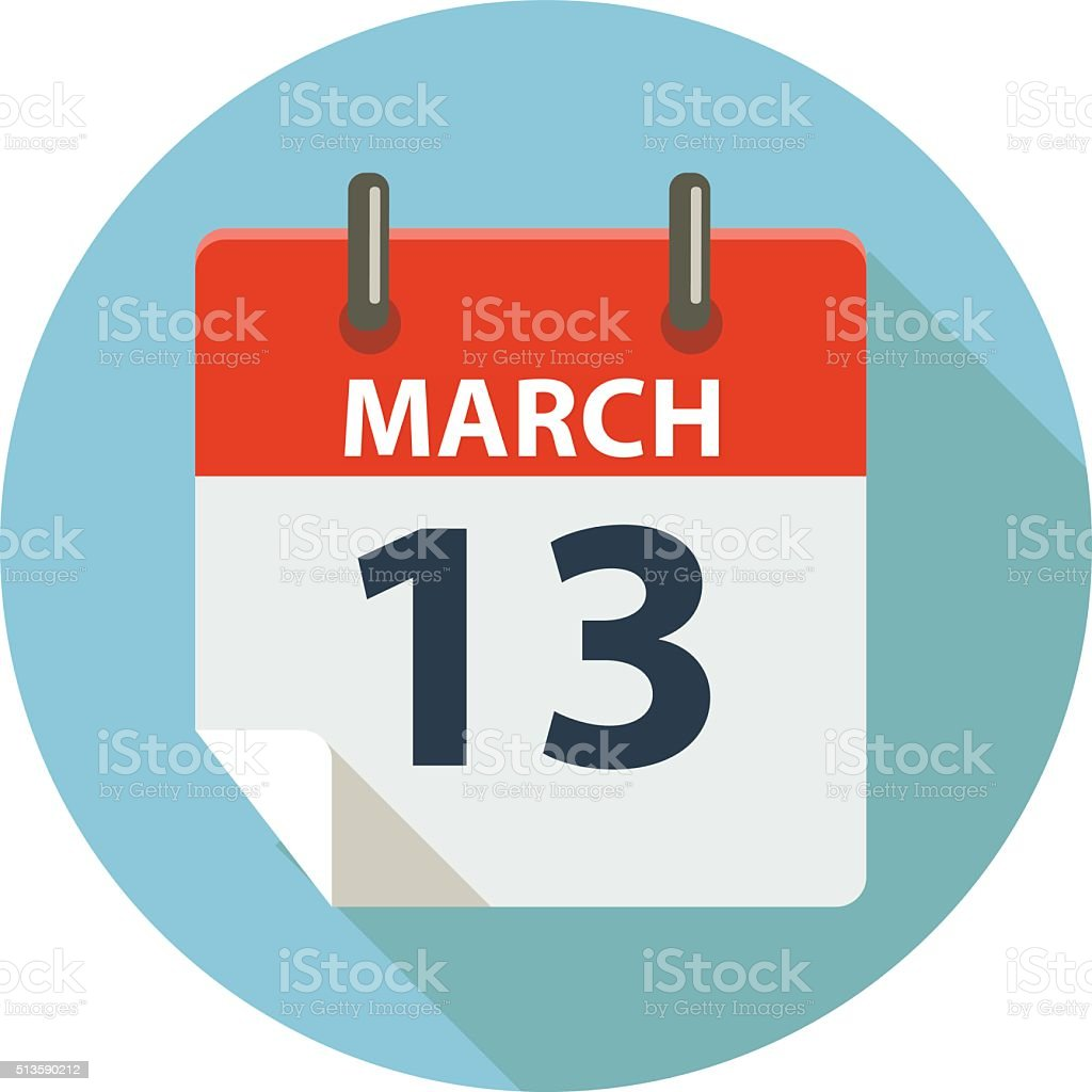 MARCH 13 Calendar Icon vector art illustration