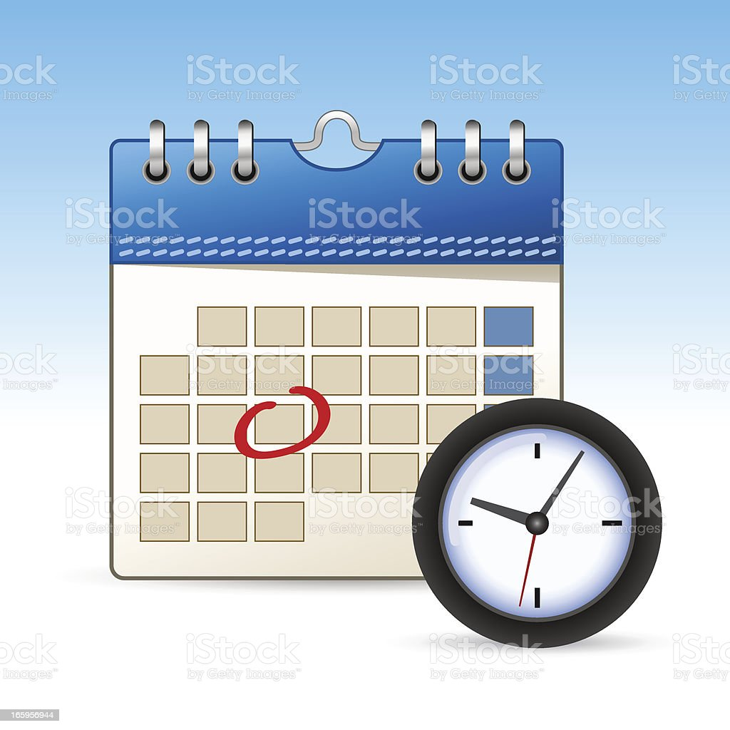 Calendar icon with clock royalty-free stock vector art
