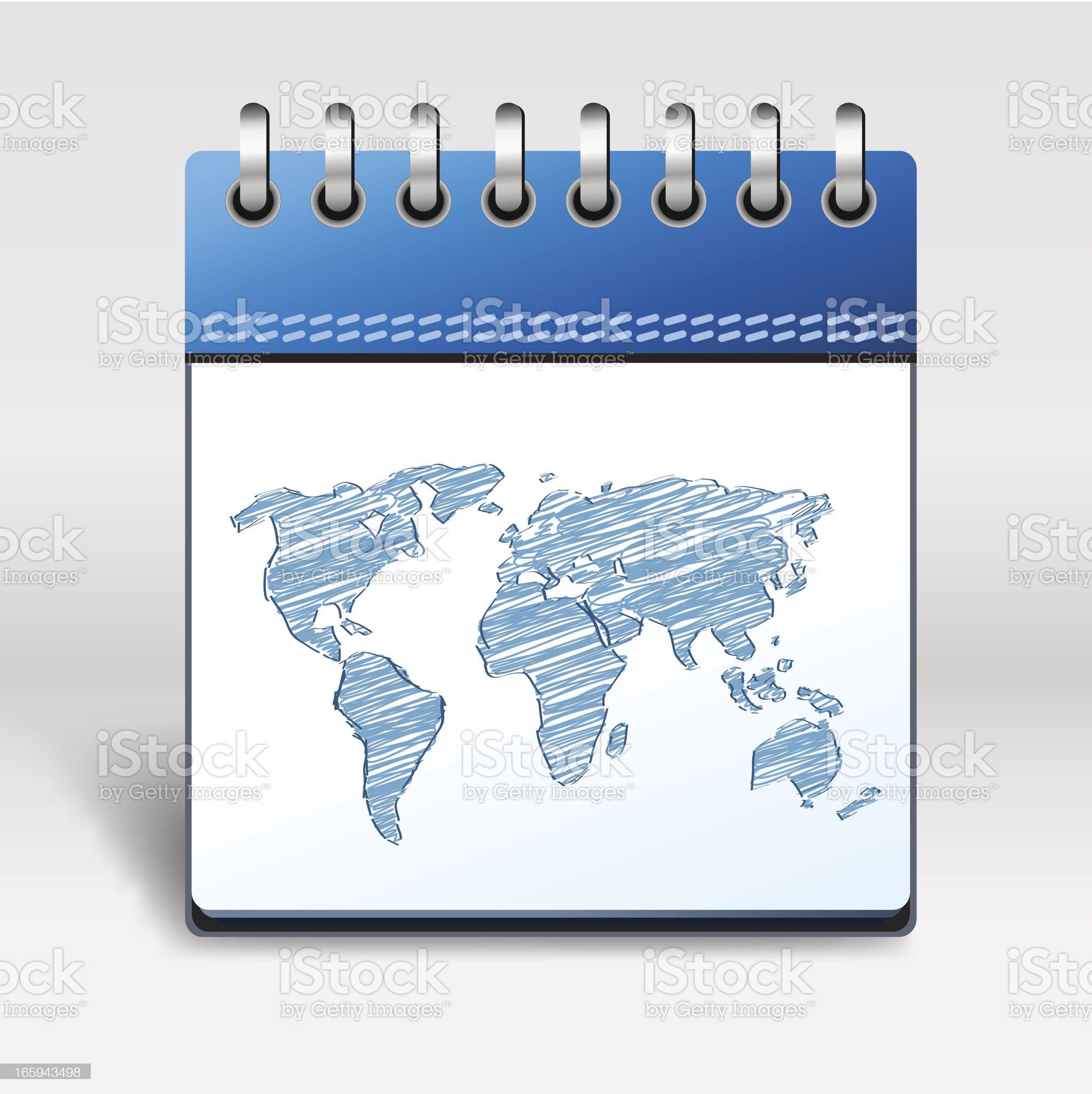 Calendar Icon world map royalty-free stock vector art