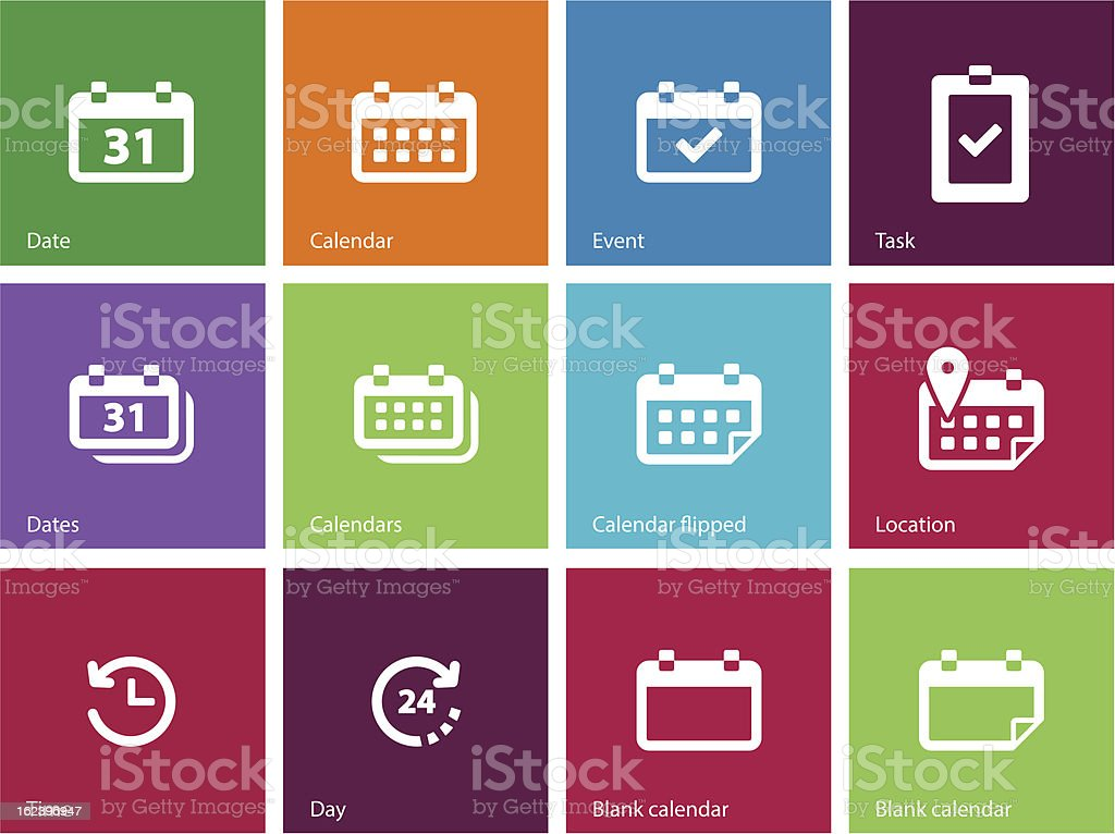 Calendar icons | Metro Style royalty-free stock vector art