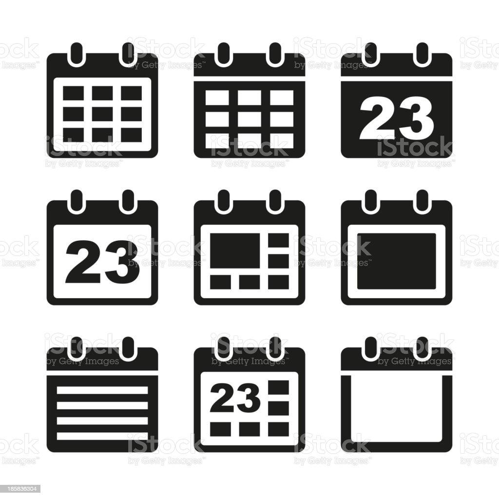 Calendar icons set. royalty-free stock vector art