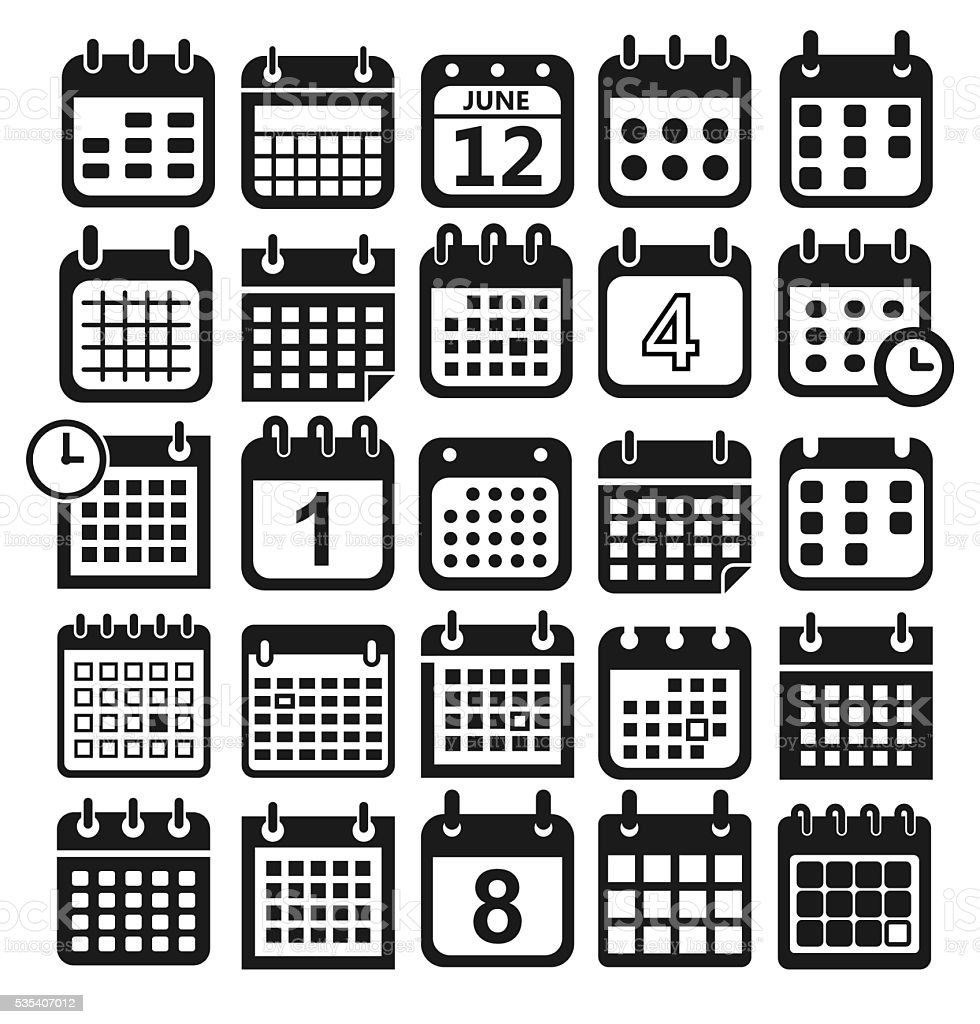 calendar icons set vector art illustration