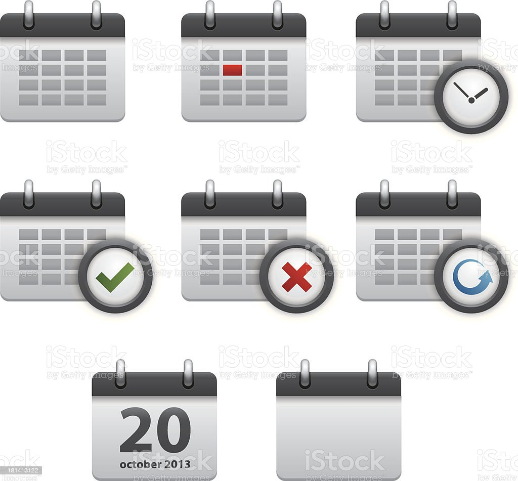 Calendar icons royalty-free stock vector art