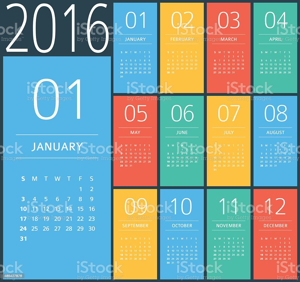 2016 calendar - Illustration vector art illustration