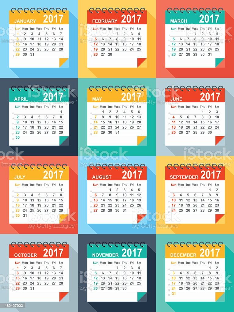 2017 calendar - Illustration vector art illustration