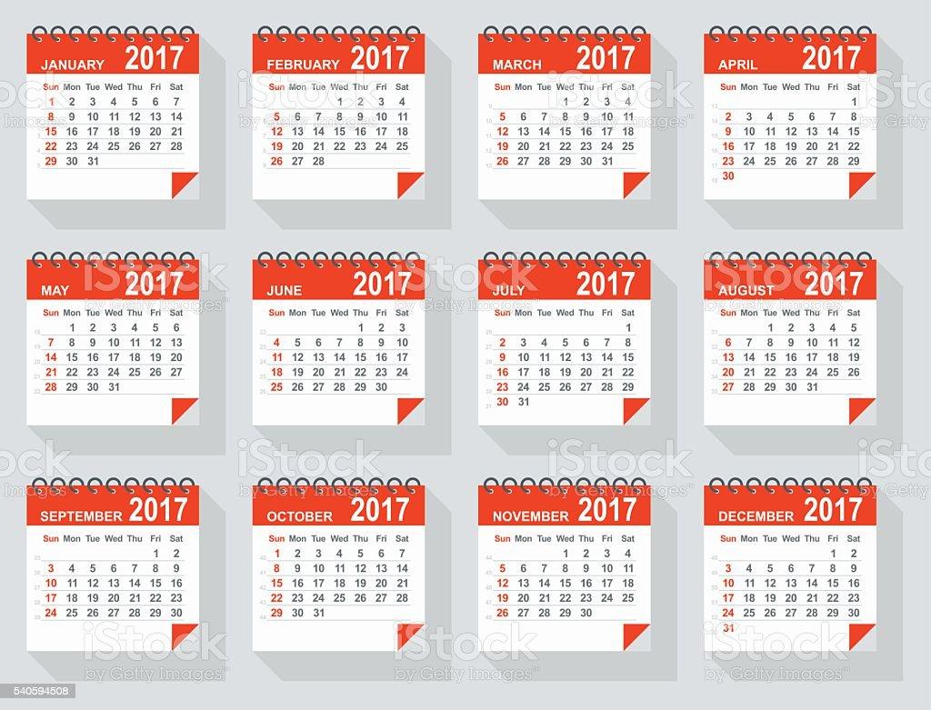 2017 calendar - Illustration vector art illustration