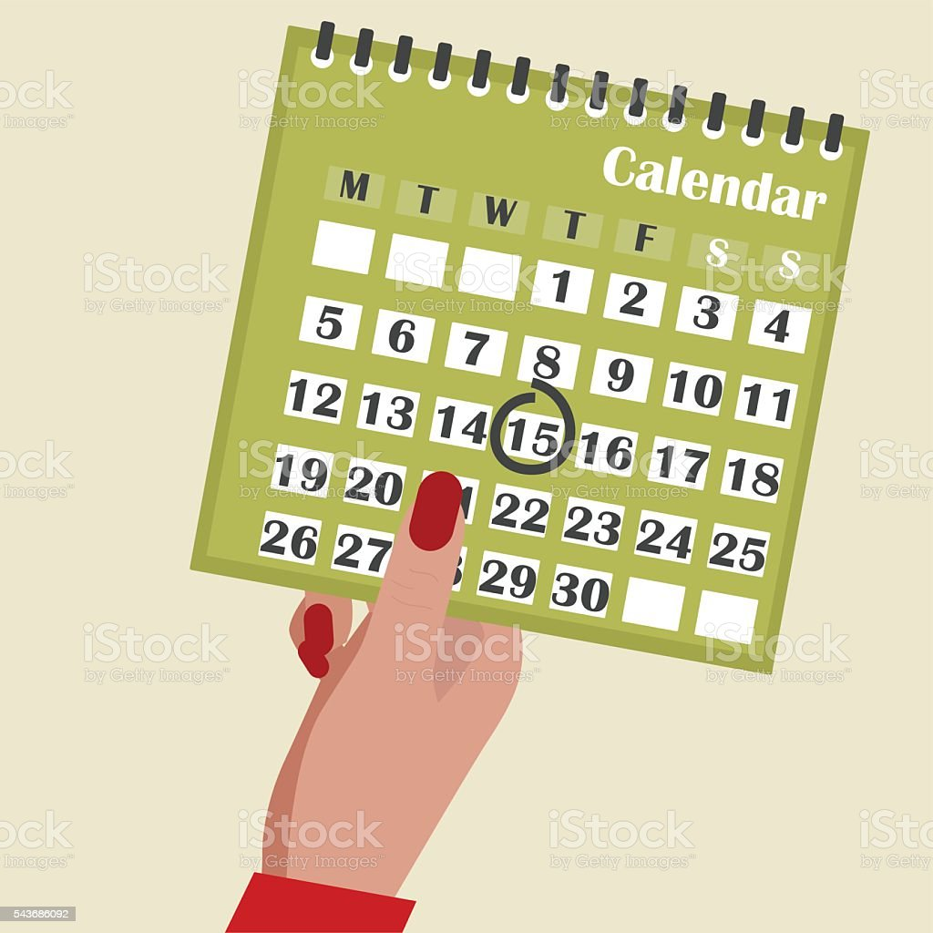 Calendar in the hands of woman. vector art illustration