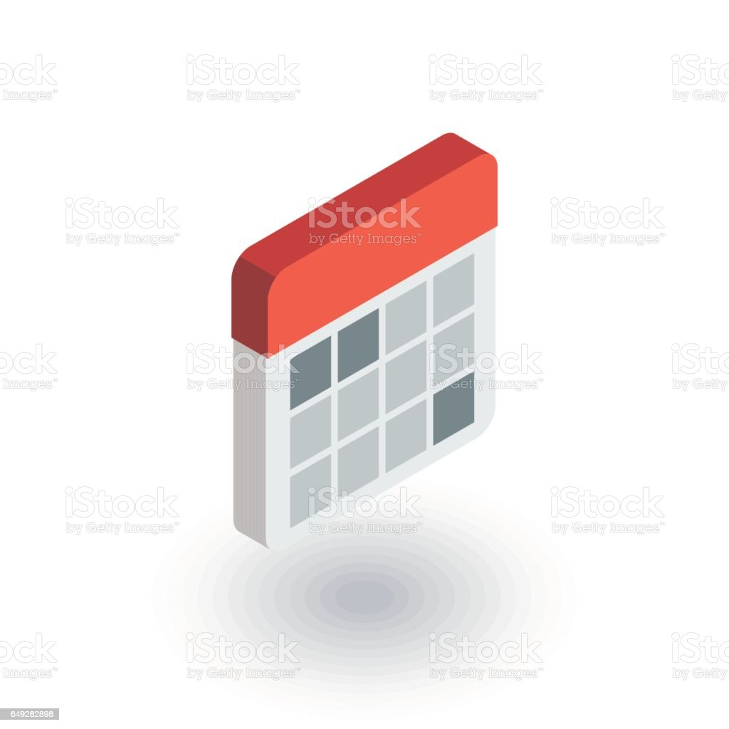 calendar isometric flat icon. 3d vector vector art illustration