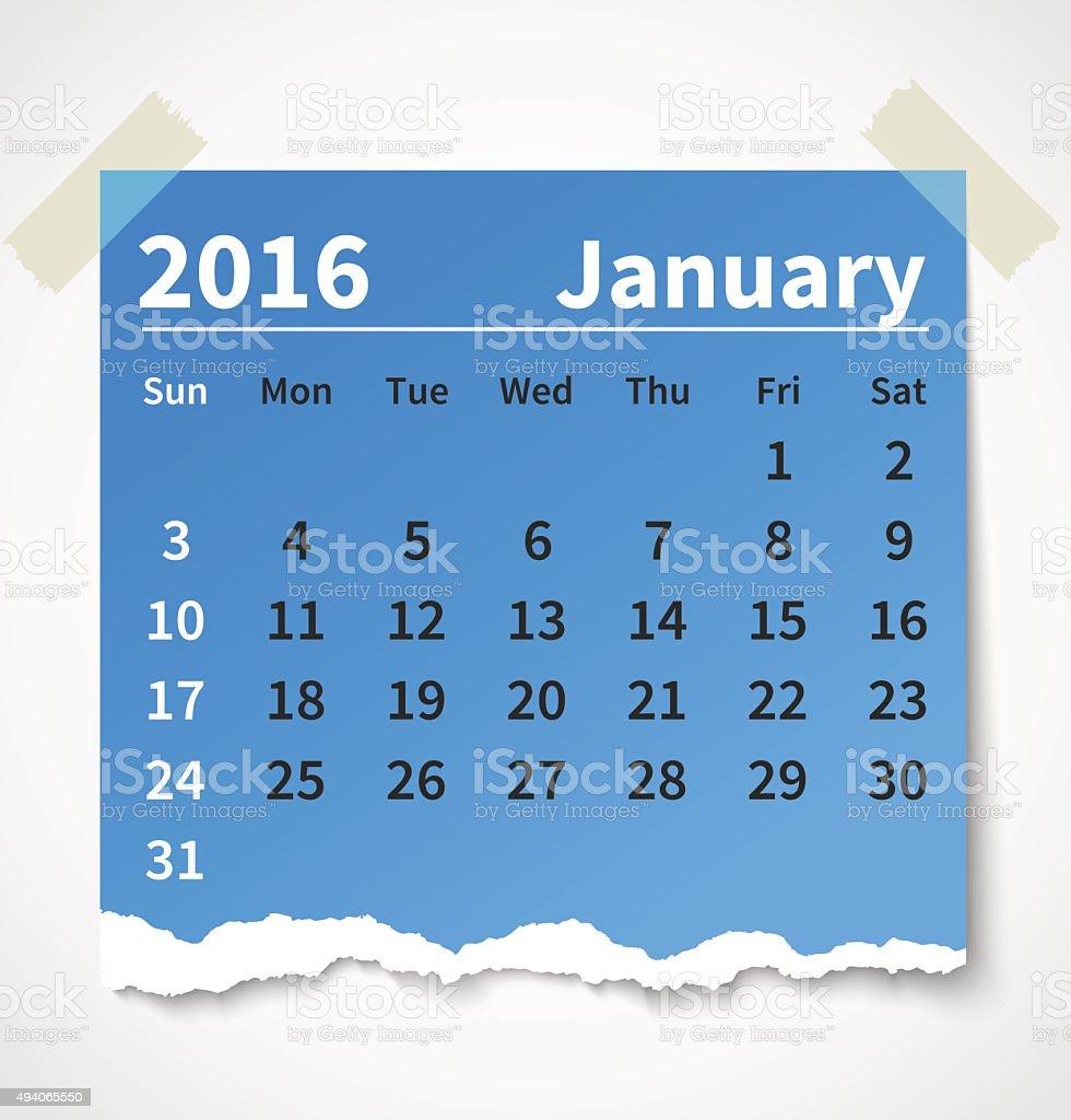 Calendar january 2016 colorful torn paper vector art illustration