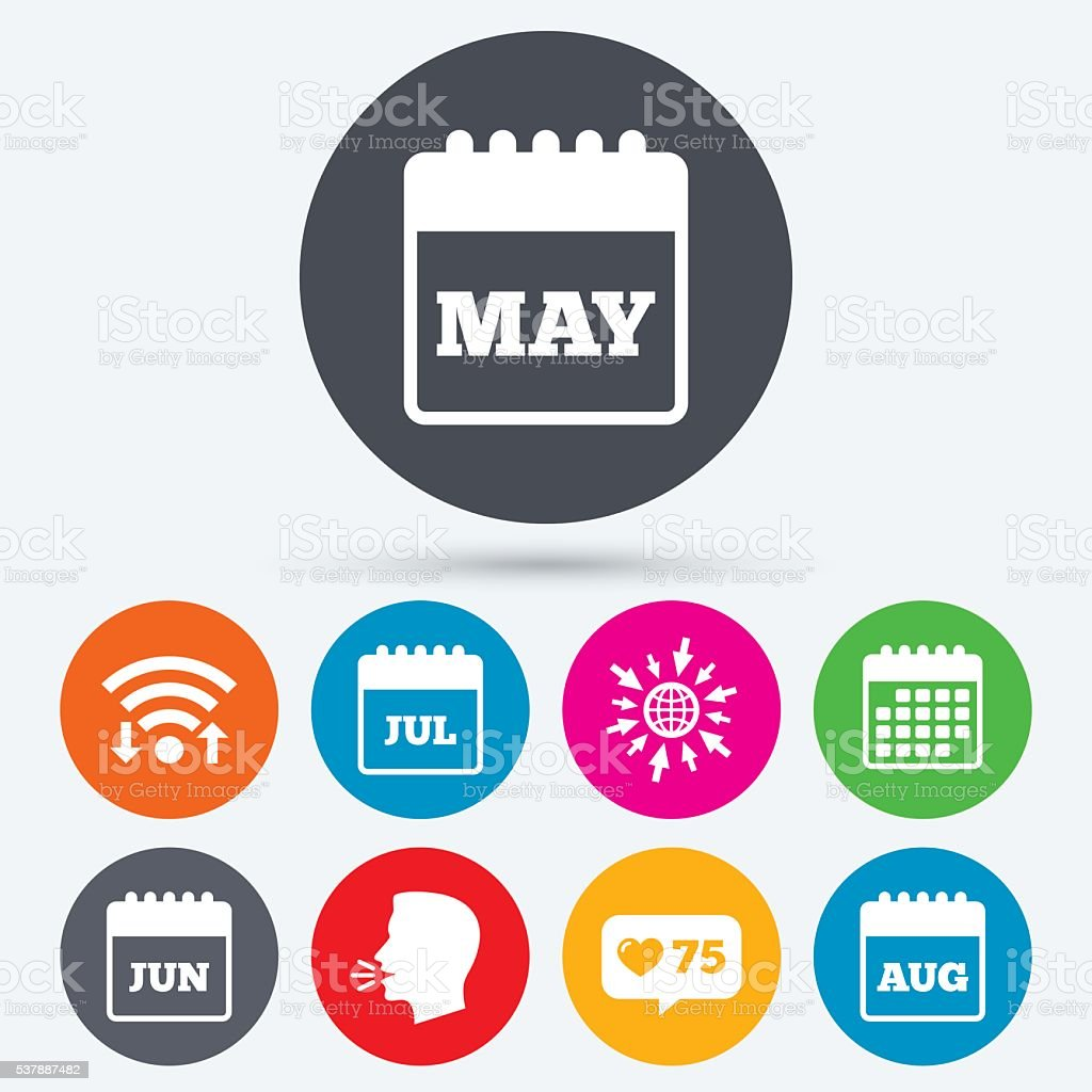 Calendar. May, June, July and August. vector art illustration