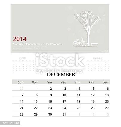 2014 Calendar Monthly Calendar Template For December Stock Vector