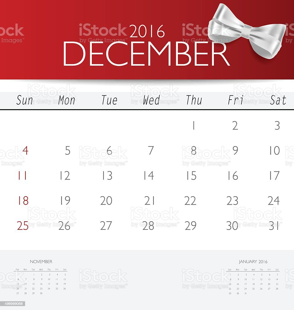 2016 calendar, monthly calendar template for December. vector art illustration