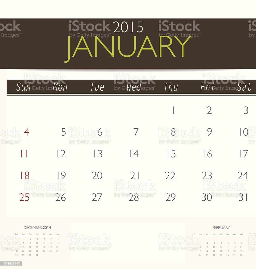2015 calendar, monthly calendar template for January. vector art illustration