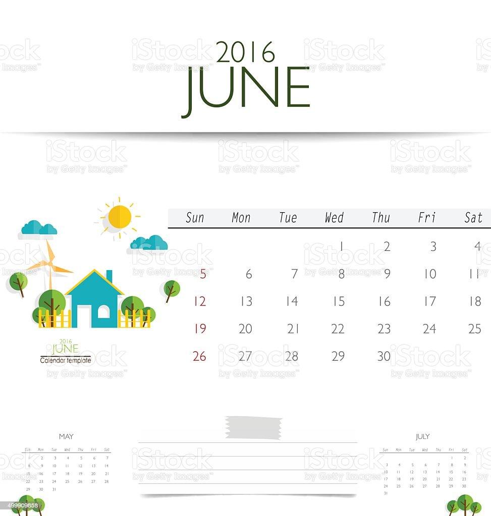 2016 calendar, monthly calendar template for June. vector art illustration