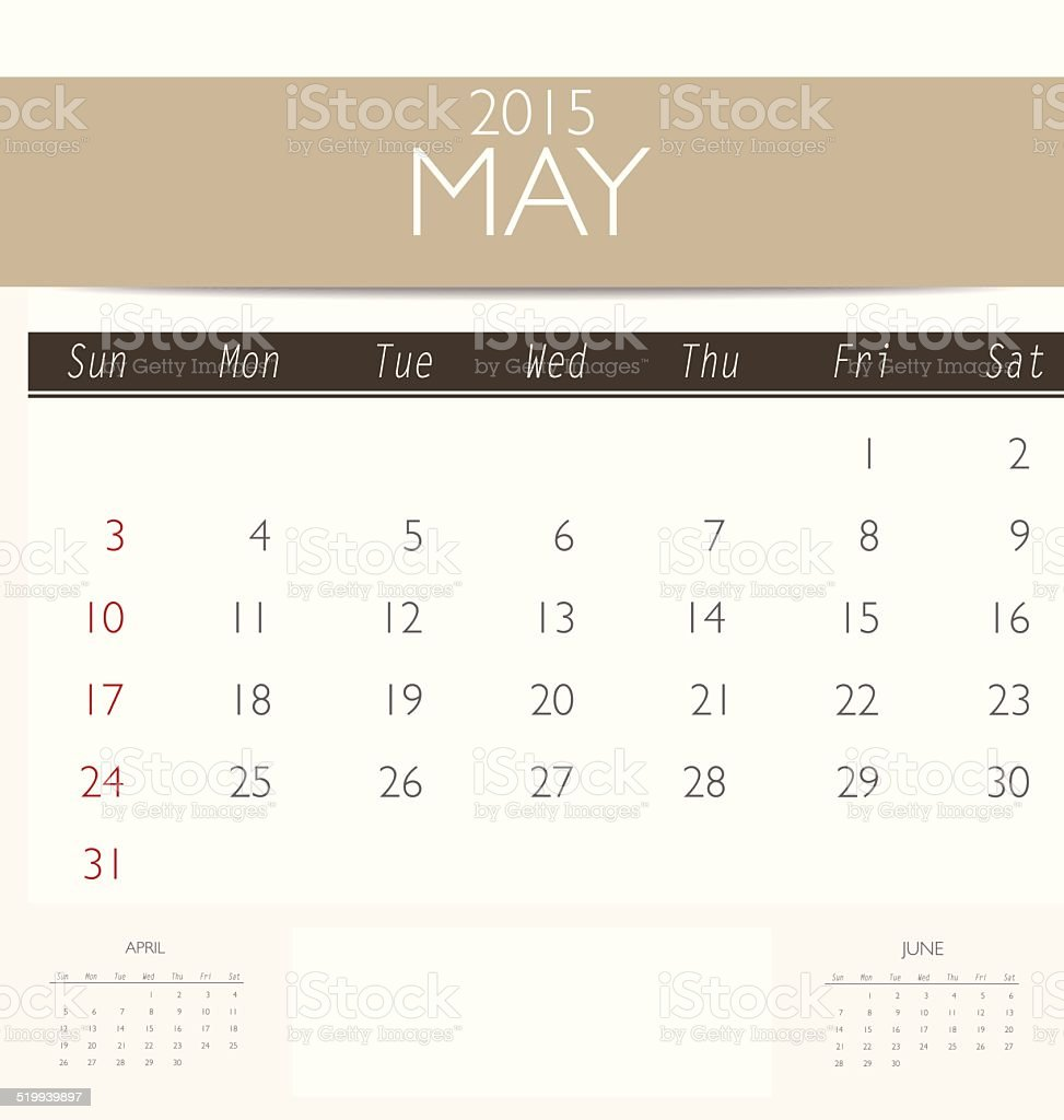2015 calendar, monthly calendar template for May. vector art illustration