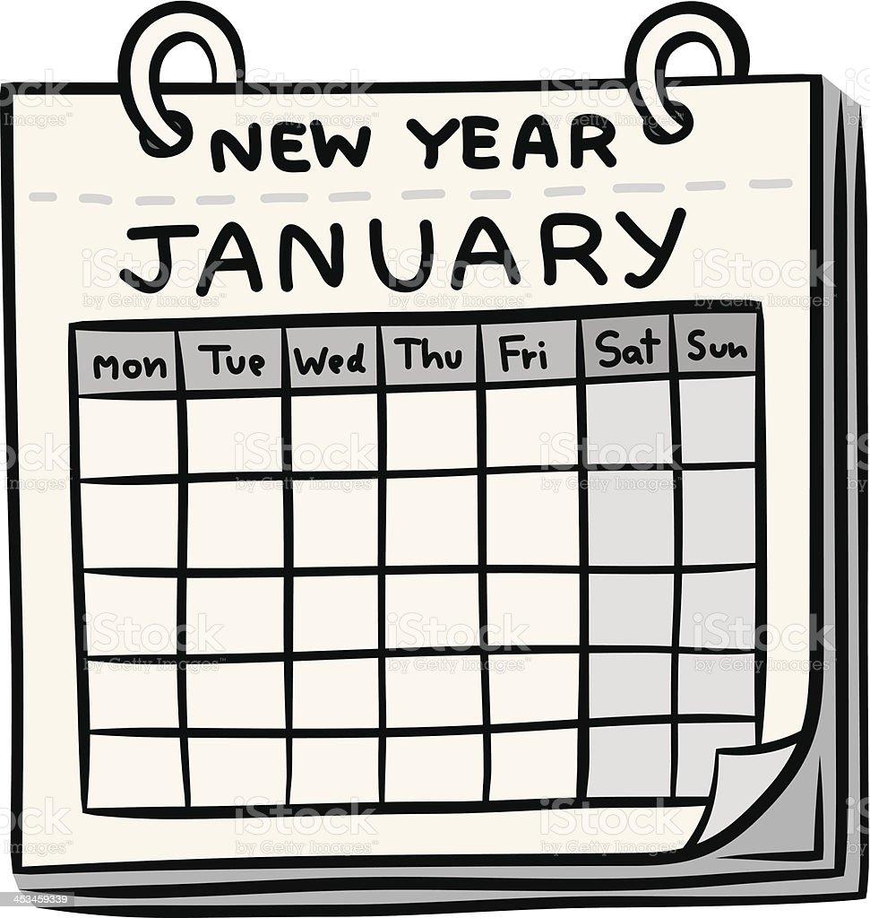 calendar of new year cartoon royalty-free stock vector art
