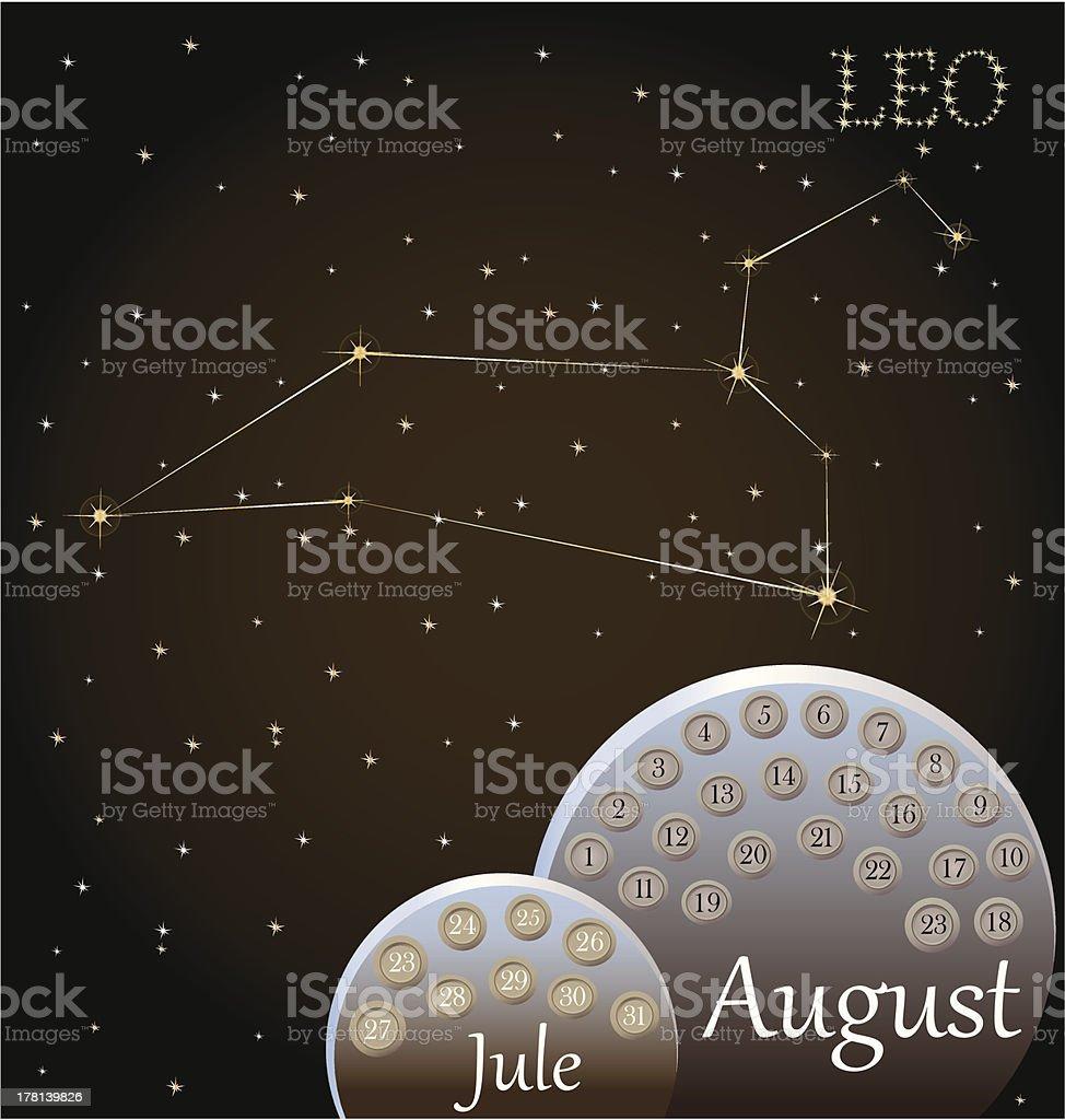 Calendar of the zodiac sign Leo. royalty-free stock vector art