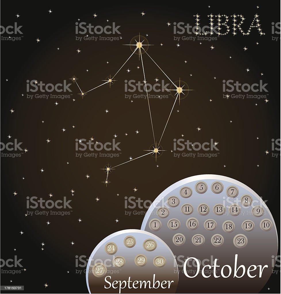 Calendar of the zodiac sign Libra. royalty-free stock vector art