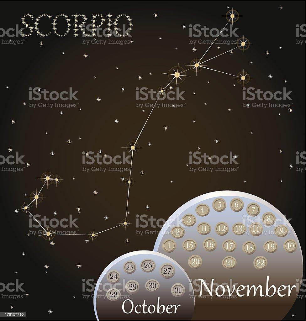 Calendar of the zodiac sign Scorpio. royalty-free stock vector art