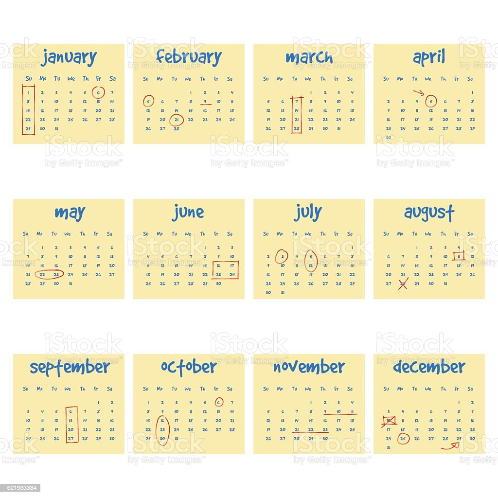 2017 Calendar on adhesive notes vector art illustration
