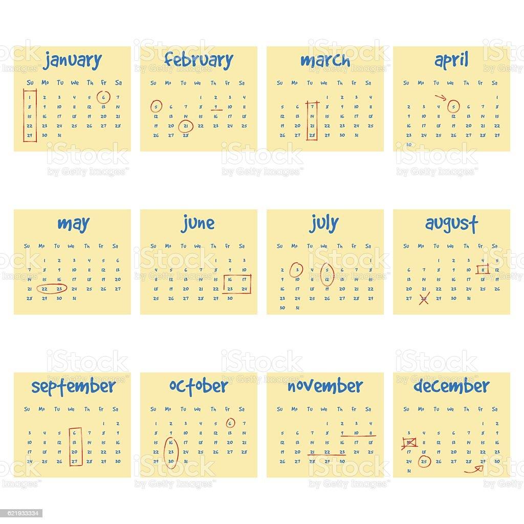 2017 Calendar on adhesive notes vector art illustration