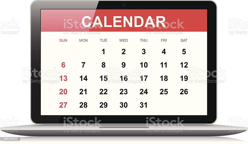 Calendar on laptop royalty-free stock vector art