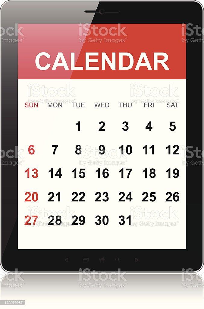 Calendar on tablet pc royalty-free stock vector art
