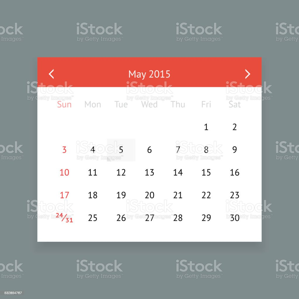 Calendar page for May 2015 vector art illustration