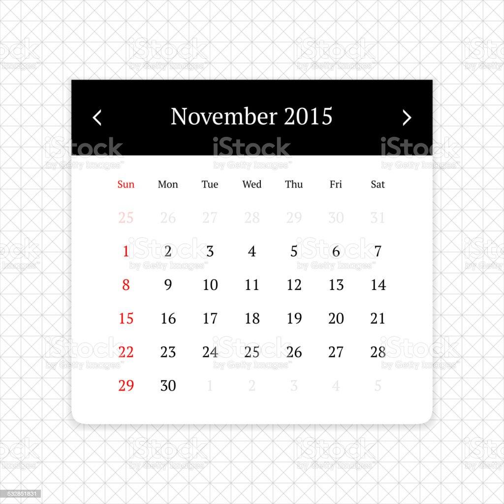 Calendar page for November 2015 vector art illustration