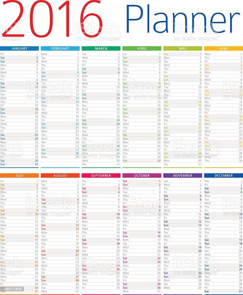 Calendar / Planner 2016 - Illustration - Illustration vector art illustration