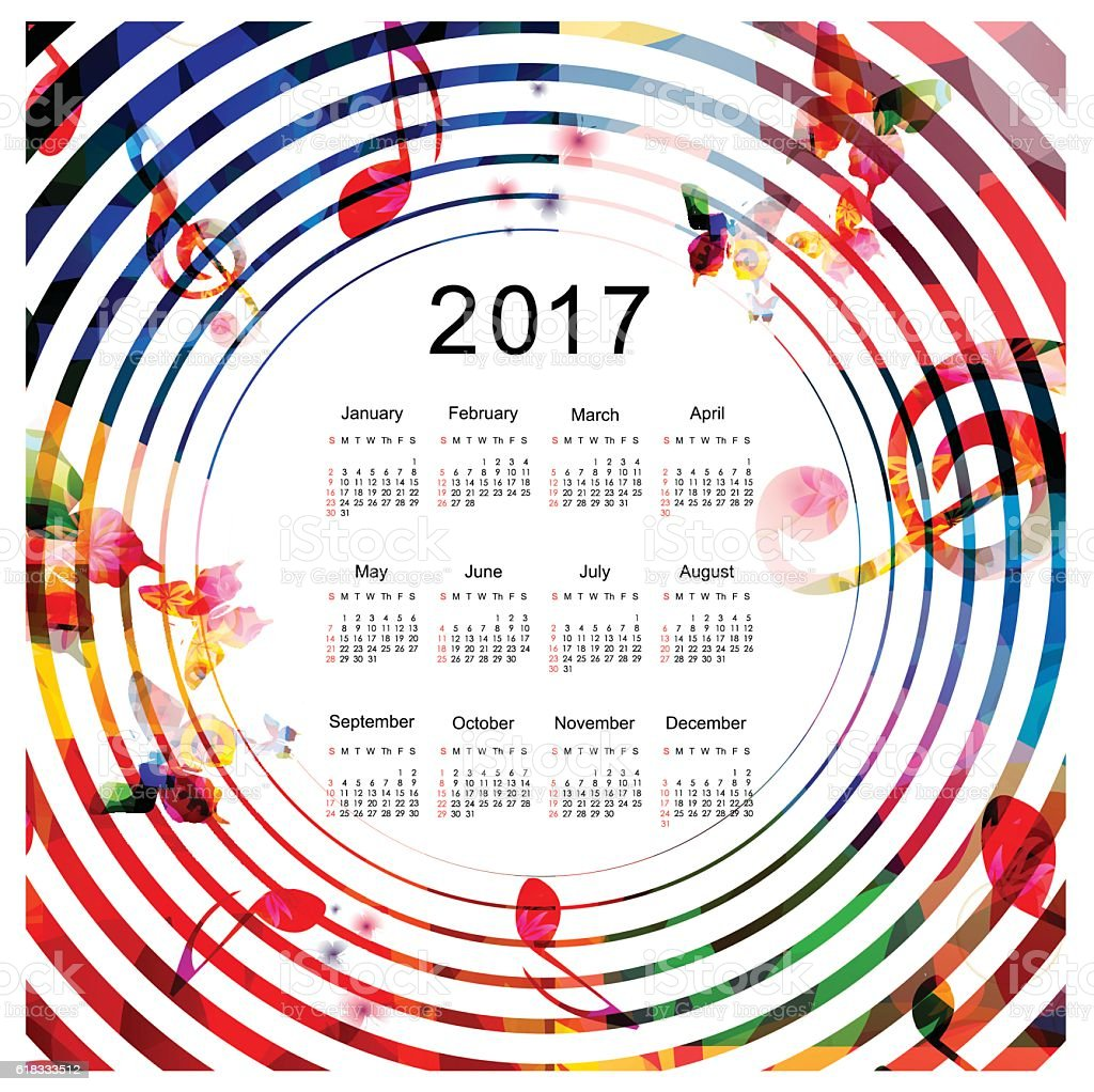 Calendar planner 2017 design template with colorful music notes vector art illustration