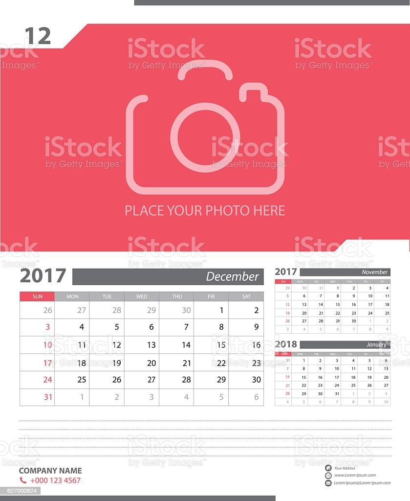 Calendar Planner Design for 2017 vector art illustration
