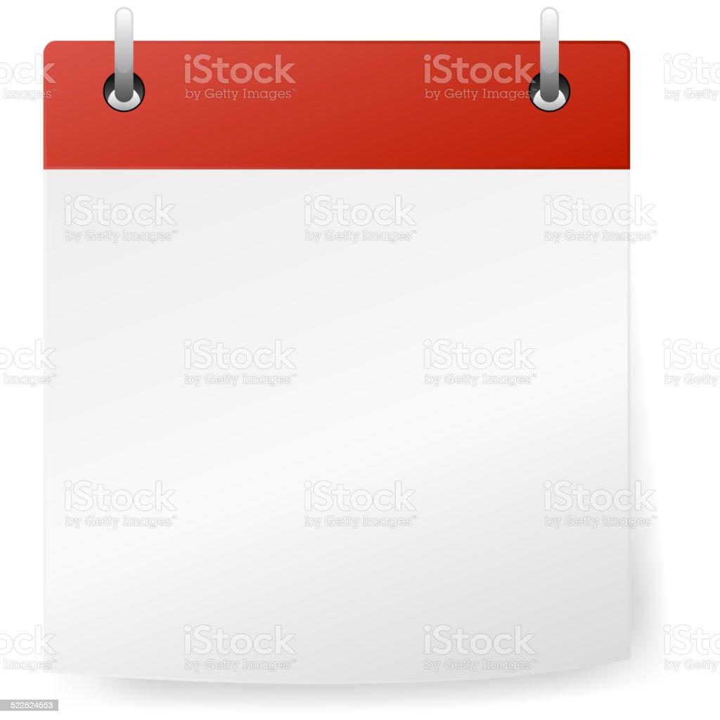 Calendar red blank vector art illustration