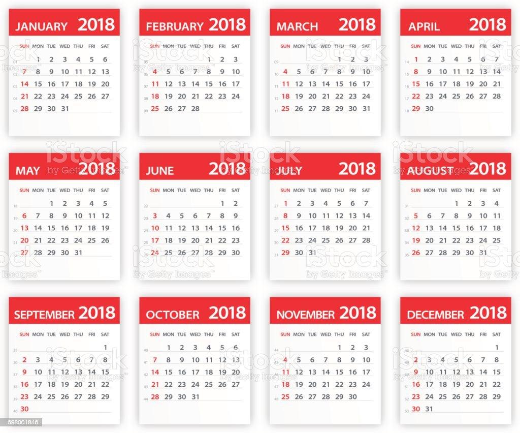 2018 Calendar Red Leaves Illustration stock vector art 698001846 ...