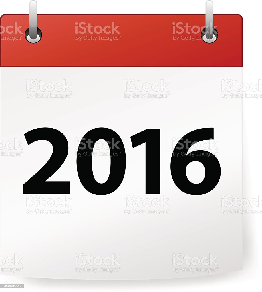 Calendar red with year 2016 on white background vector art illustration