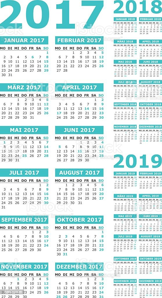 calendar set 2017, 2018, 2019 vector art illustration