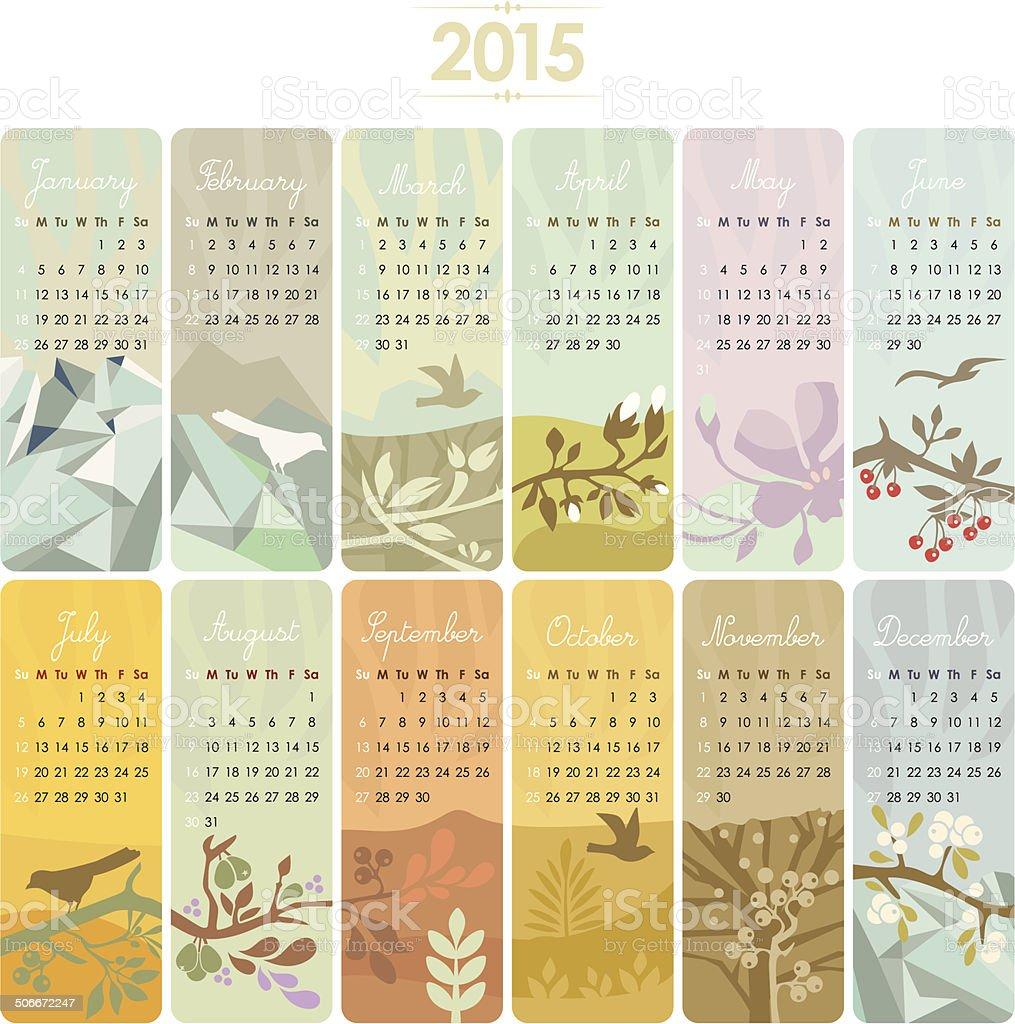 Calendar Set for 2015 vector art illustration