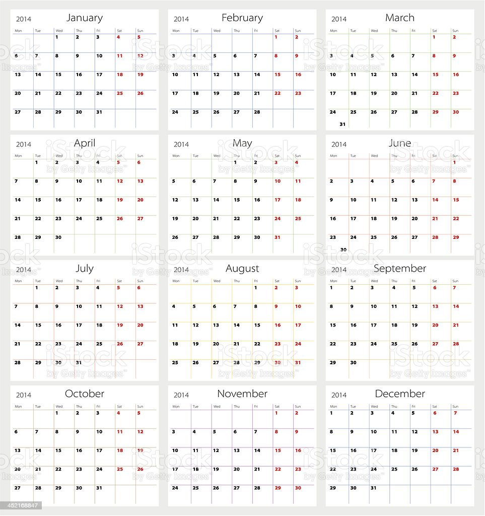 2014 calendar showing all the months royalty-free stock vector art