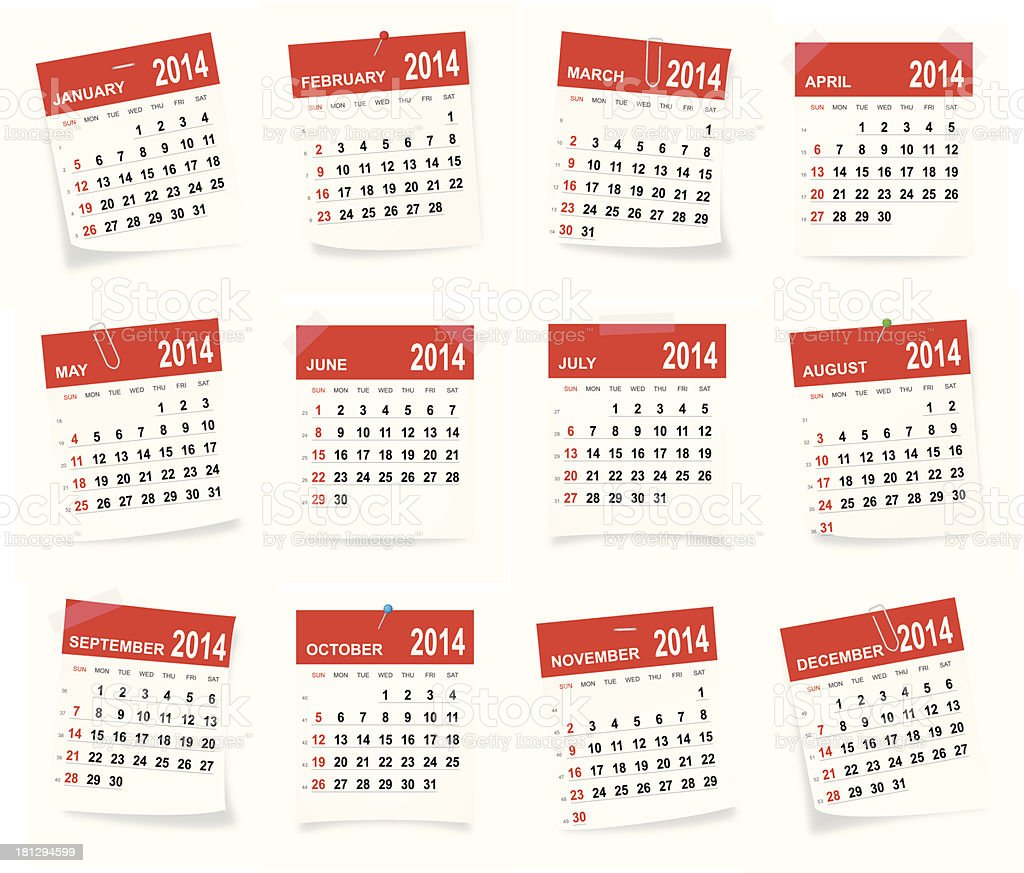 2014 calendar showing each month of the year royalty-free stock vector art