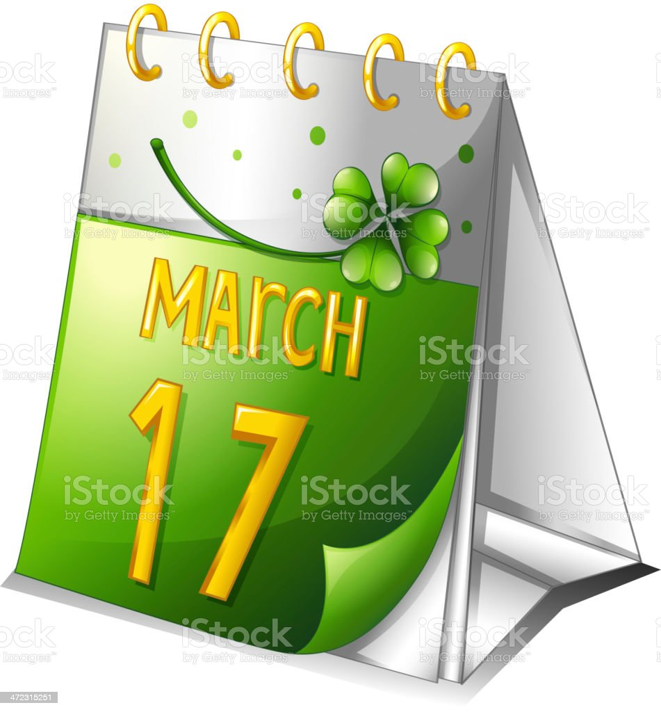 Calendar showing the 17th of March royalty-free stock vector art