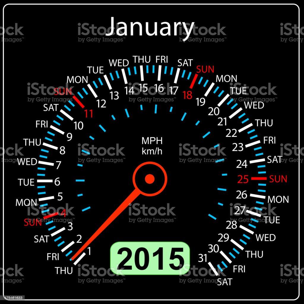 calendar speedometer car January. royalty-free stock vector art
