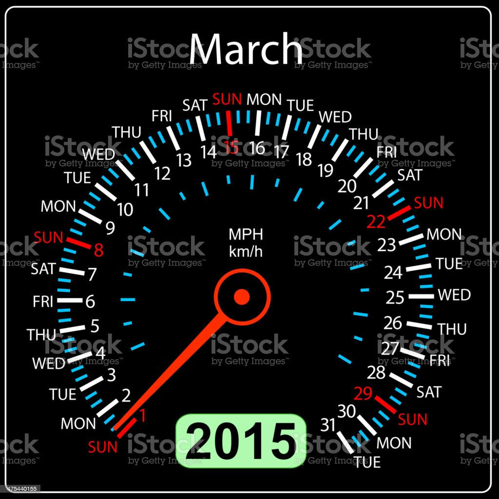 calendar speedometer car March. royalty-free stock vector art