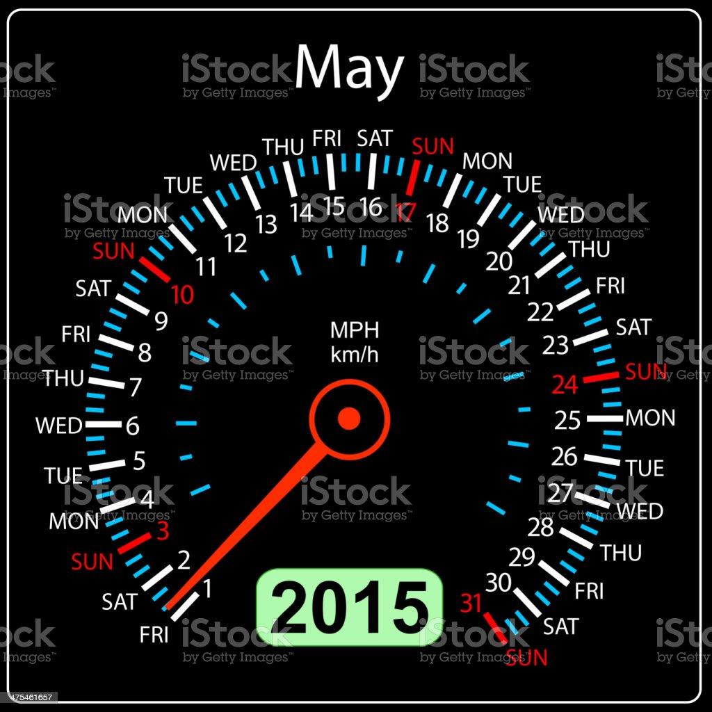 calendar speedometer car May. royalty-free stock vector art