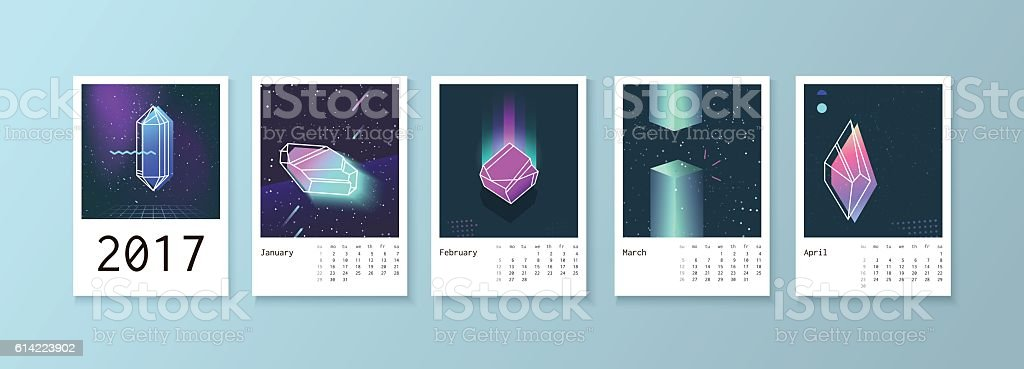 Calendar style with space 80 crystals. vector art illustration