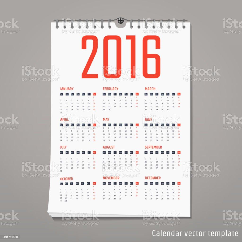 Calendar template 2016 vector art illustration