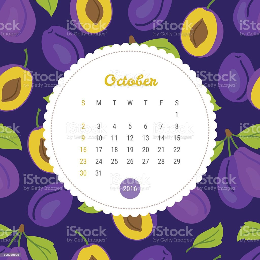 Calendar Template 2016 with plum. October vector art illustration