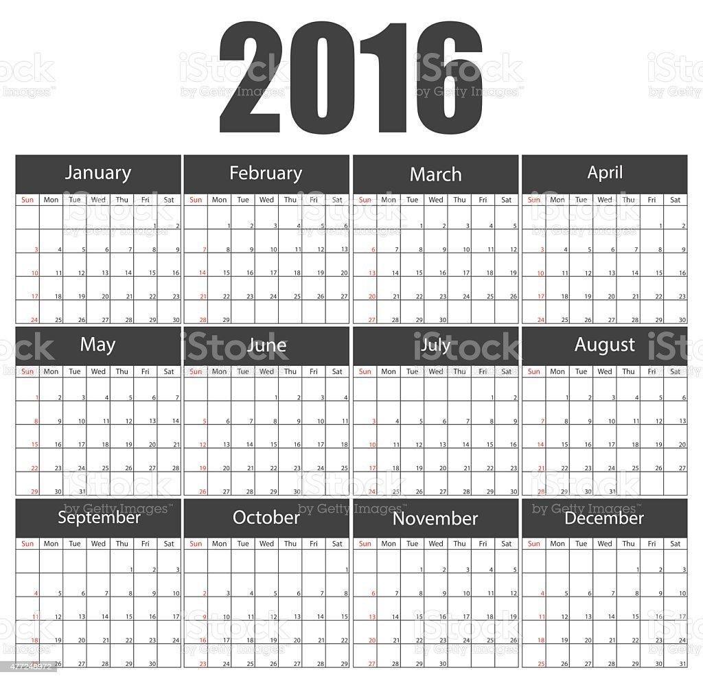 2016 calendar template brochure business design. Vector illustration. vector art illustration