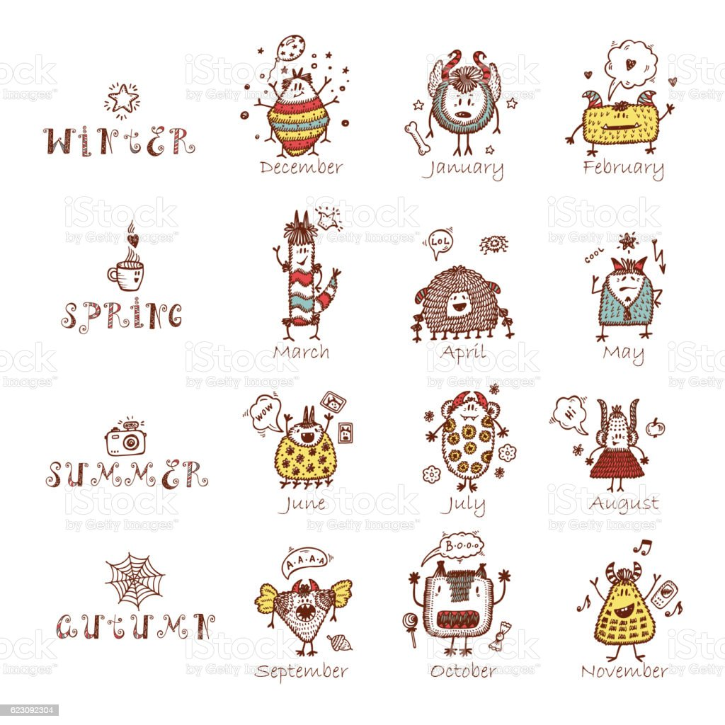 Calendar template with funny Cute Cartoon Monsters. Times of year. vector art illustration